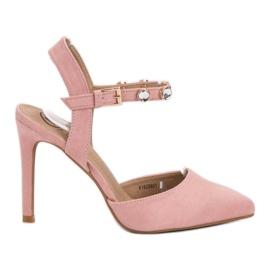 Kylie roz Stilettos cu călcâi deschis