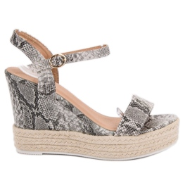 Ideal Shoes gri Sandale elegant pe Wedge