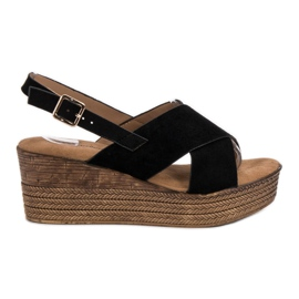 Primavera negru Pantofi negri cu pene