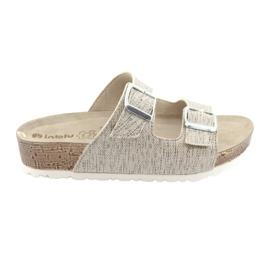 Papuci bej pentru bebelusi Inblu NM013 cu pietre de argint