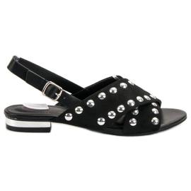 Kylie negru Sandale negre fixate cu o cataramă