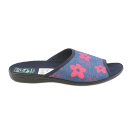Papuci de casă în flori Adanex albastru
