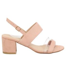 Sandale pe tocuri roz 660-1 / SA-2 roz