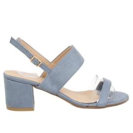 Sandałki na obcasie niebieskie 660-1 / SA-2 albastru