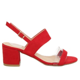 Sandałki na obcasie czerwone 660-1 / SA-2 roșu