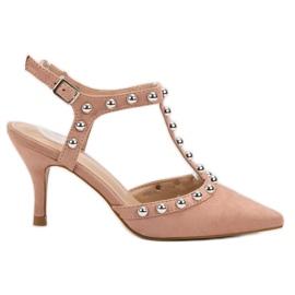 Bestelle roz Stilettos cu călcâi deschis