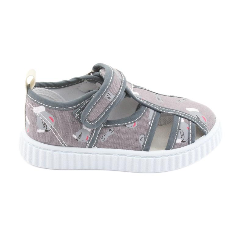 Pantofi pentru copii gri American Club cu velcro TEN 27/19 alb