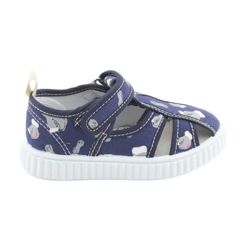Pantofi pentru copii American Club bleumarin cu velcro TEN 27/19 alb albastru marin gri