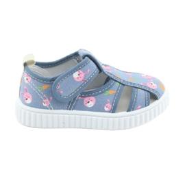Pantofi pentru copii American Club cu velcro albastru TEN 32/19 roz