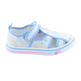 Pantofi copii American Club velcro albastru TEN 27/19 verde