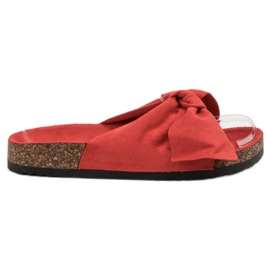 Diamantique roșu Papuci cu arcul