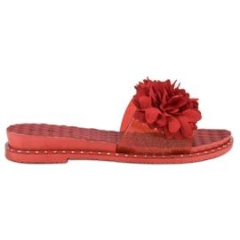 Anesia Paris roșu Papuci de cauciuc cu flori
