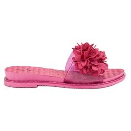 Anesia Paris roz Papuci de cauciuc cu flori