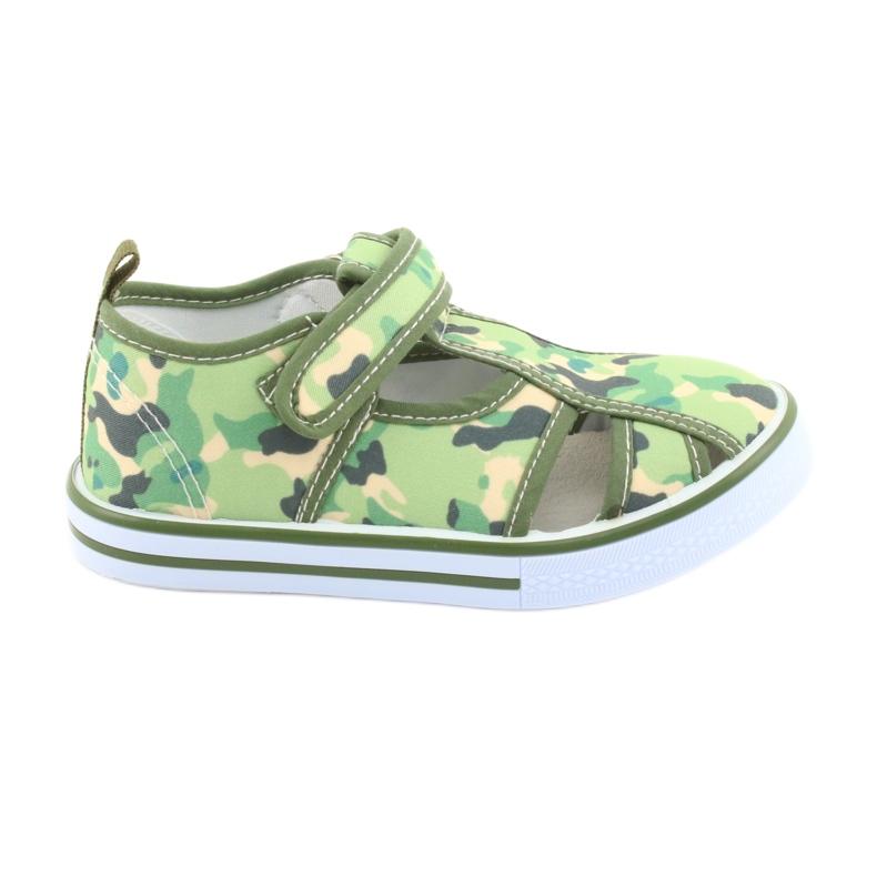Pantofi pentru copii American Club cu velcro camo verde TEN 27/19 maro gri