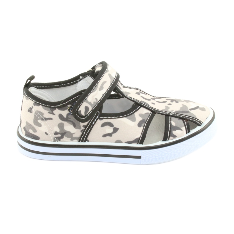 Pantofi pentru copii American Club cu branț din piele cu velcro alb maro negru gri