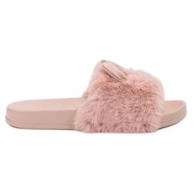 Vinceza Pantofi roz cu blană