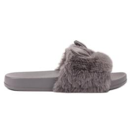 Vinceza Pantofi gri cu blană