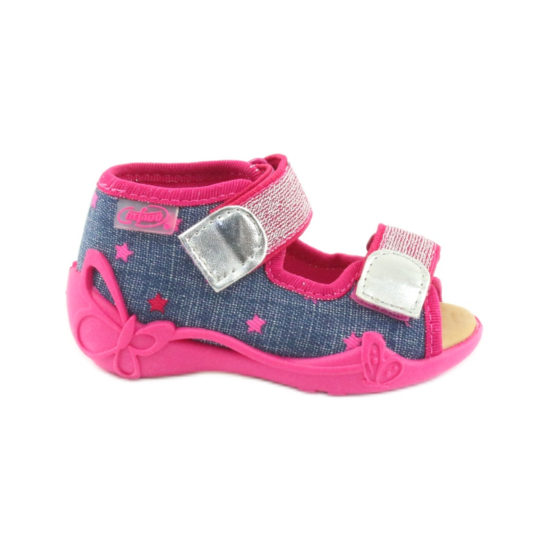 Sandale Befado papuci, branț din piele albastru roz