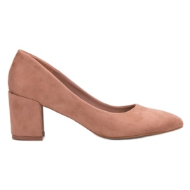 Small Swan roz Suede pompe