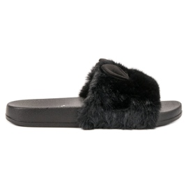 Vinceza negru Pantofi negri cu blană