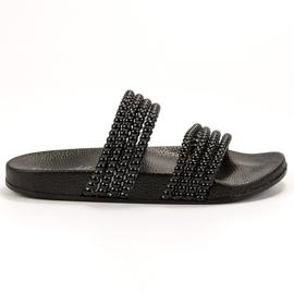 Bello Star negru Papuci cu margele