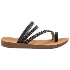 Vinceza negru Flip-flops cu Brocade
