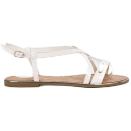 Anesia Paris alb Lacate sandale plate