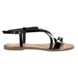 Anesia Paris negru Lacate sandale plate