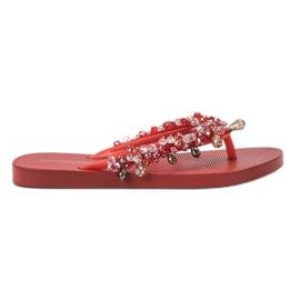 SHELOVET Flip-flăcări din cauciuc cu ornamente roșu