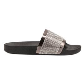 Erynn negru Papuci cu zirconi