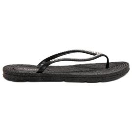 Seastar negru Flip-flops cu zirconi