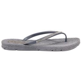 Seastar gri Flip-flops cu zirconi