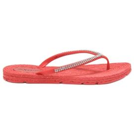 Seastar Flip-flops cu zirconi roșu