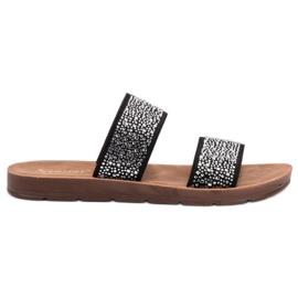 Seastar negru Papuci cu zirconi