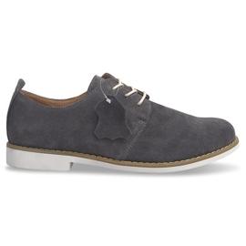 Lace-up pantofi din piele LJ12 gri