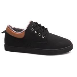 Pantofi izolați cu blană E655-1 Negru