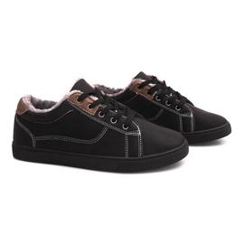 Pantofi izolați cu blană E754M-1 negru