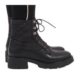 Ideal Shoes negru Îmbrăcăminte de dantela neagră cu paiete 1621