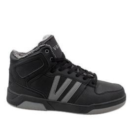 Negru Pantofi adulti de culoare neagra cu blana M667-2