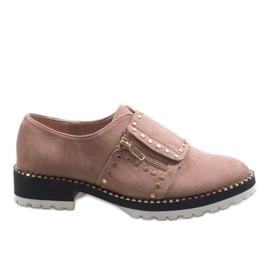 Roz Pink slip-on brogues cu U-6249 bolțuri