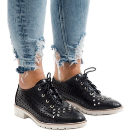 Negru Pantofi negri deschizați cu ghearele G-106-2