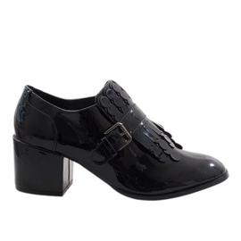Negru Pantofi neagră cu bretele neagră PZY-02