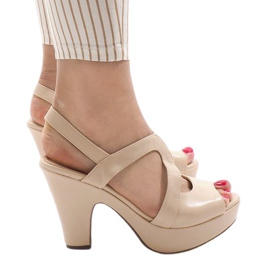 Maro Bej BL1501 sandale cu toc înalt