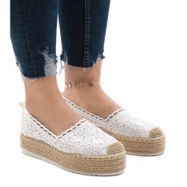 Pantofi adidasi albi pe platforma 7801-P