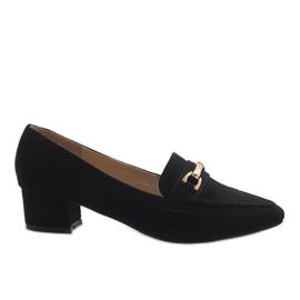 Pantofi de piele neagra 7078-P negru