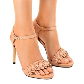 Pantofi roz pe un picior de flori TN-001