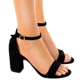 Negru Sandale negre pe stâlpul LT113 din piele