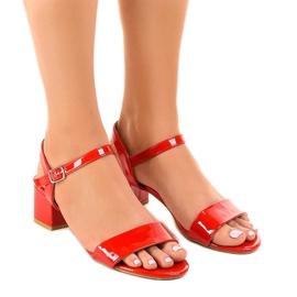 Roșu Sandale roșii pe postul lăcuit Qla-93