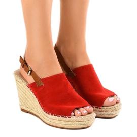 Roșu Rochii de sandale roșii cu espadrilă KA-20