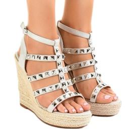Sandale gri pe pană de paie 9529